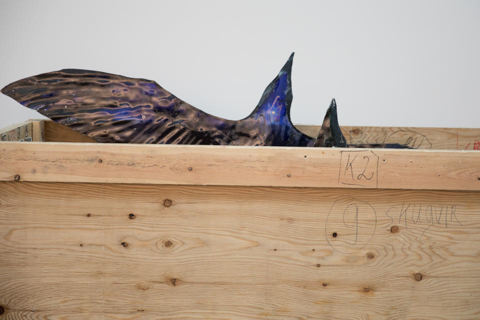 Faroese painter, sculptor and glass artist Tróndur Patursson's stained glass birds in a crate at the Nordic Museum in Seattle's Ballard neighborhood, April 27, 2018.