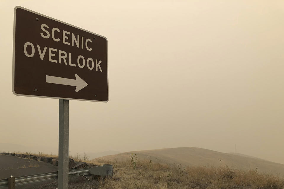 Sign that says 'Scenic Overlook' stands out against a smoky hillside