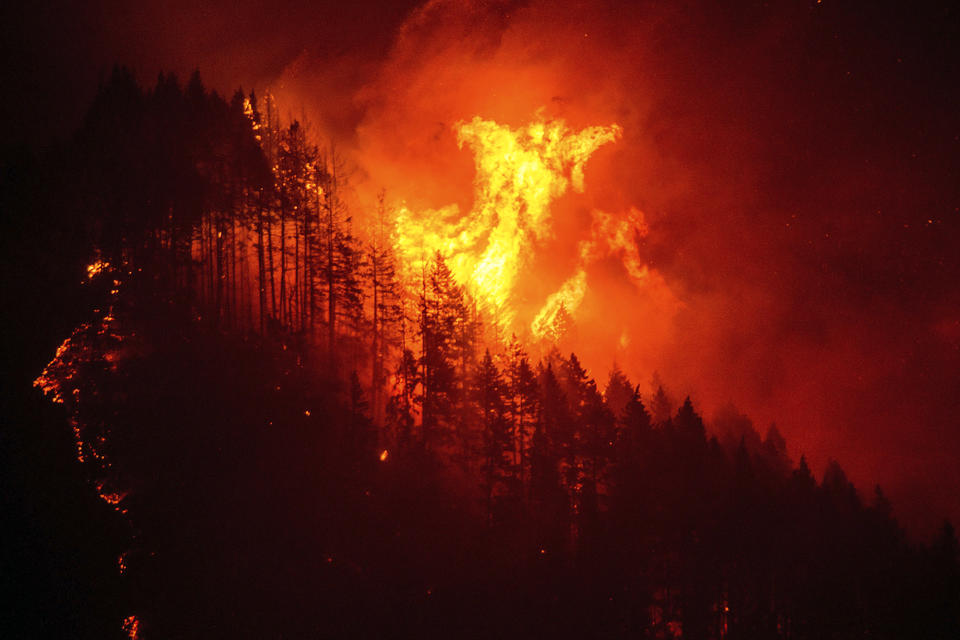 A wildfire burns the Columbia River Gorge in Oregon