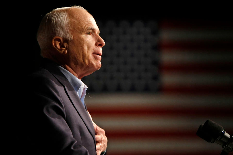 In this Oct. 11, 2008, file photo, Republican presidential candidate Sen. John McCain, R-Ariz., speaks at a rally in Davenport, Iowa. Arizona Sen. McCain, the war hero who became the GOP's standard-bearer in the 2008 election, has died. He was 81. His office says McCain died Saturday, Aug. 25, 2018. He had battled brain cancer. (AP Photo/Gerald Herbert, File)