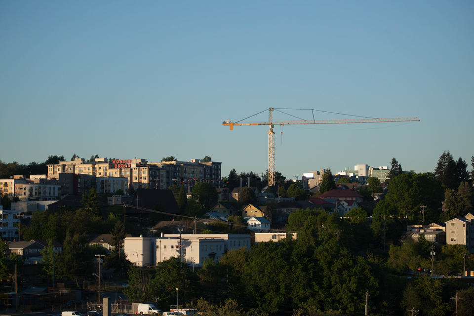 construction crane over seattle neighborhood