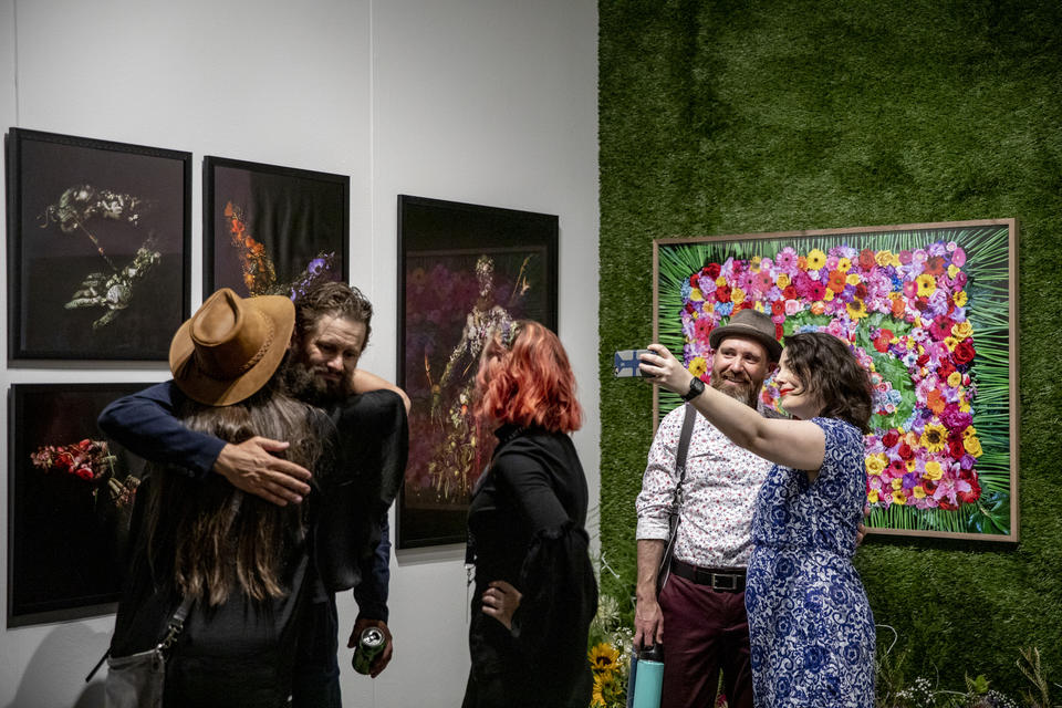 Seattle's J. Rinehart Gallery during the Seattle Art Fair at CenturyLink Field Event Center on Aug. 1, 2019. The fair goes Friday through Sunday. (Photo by Dorothy Edwards/Crosscut)