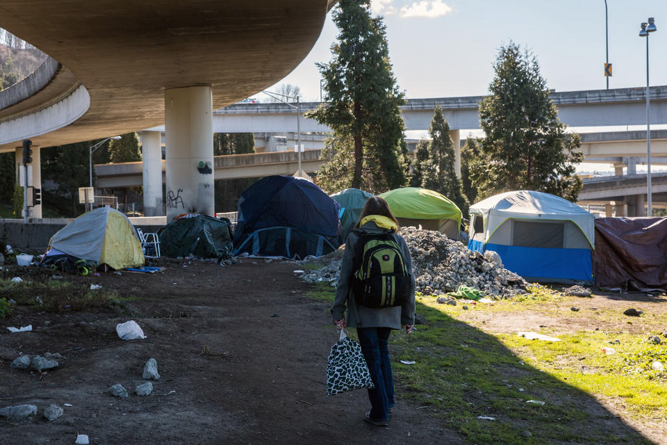 A person walks among tents below a freeway overpass