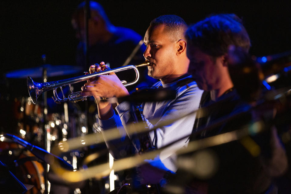 Ahamefule J. Oluo plays the trumpet during rehearsal at On The Boards