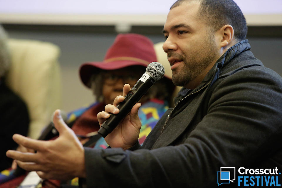 Riall Johnson of De-Escalate WAshington during 'Deadly Force and Seattle's Changing Police Culture' at Crosscut Festival 2018 in Seattle on Feb. 3, 2018.