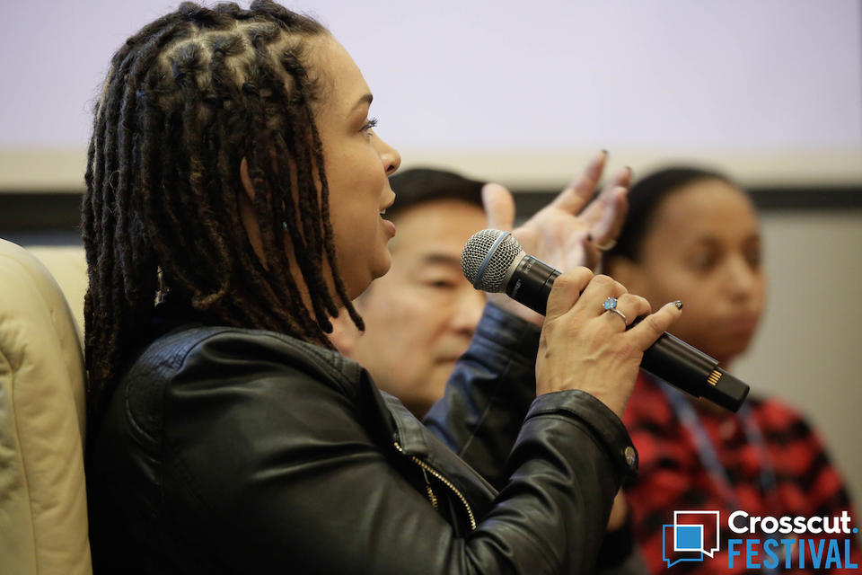 Angelique Davis during 'Righting the Wrongs of Racism' panel at Crosscut Festival 2018 in Seattle on Feb. 3, 2018.