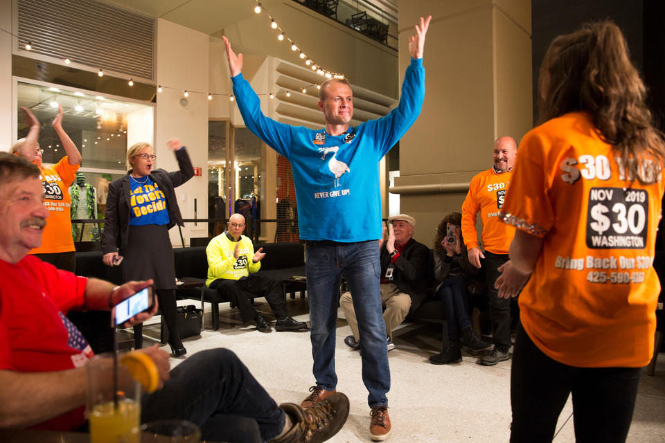 Tim Eyman and supporters react to early positive returns for I-976.
